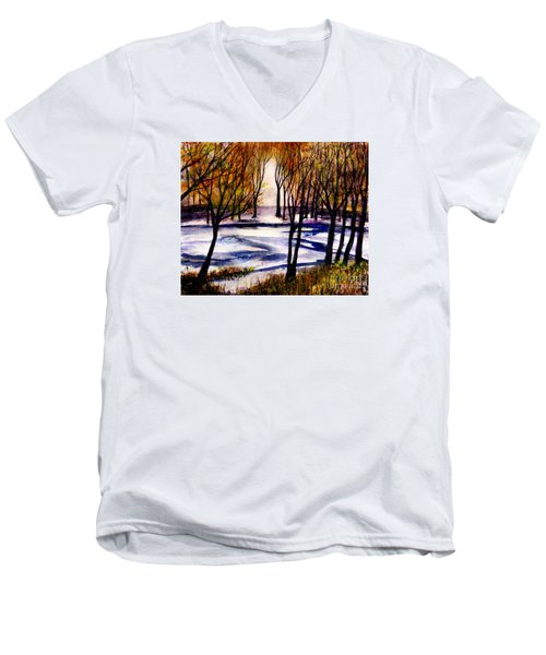 Snow On Lower Pasture Tonight Men's V-Neck T-Shirt by Randy Sprout