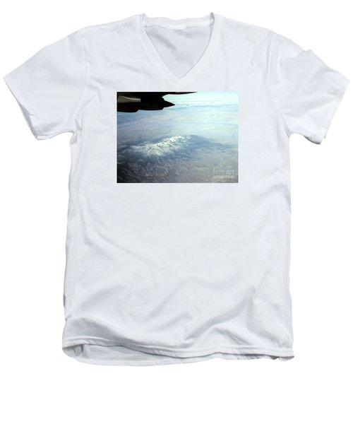 Snow On The Mountains Flying To Alaska Men's V-Neck T-Shirt by Merton Allen