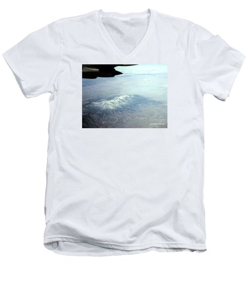 Snow On The Mountains Flying To Alaska Men's V-Neck T-Shirt