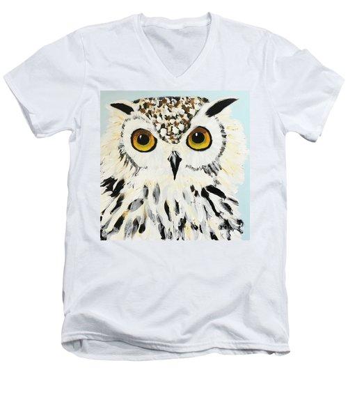 Snow Owl Men's V-Neck T-Shirt by Donald J Ryker III