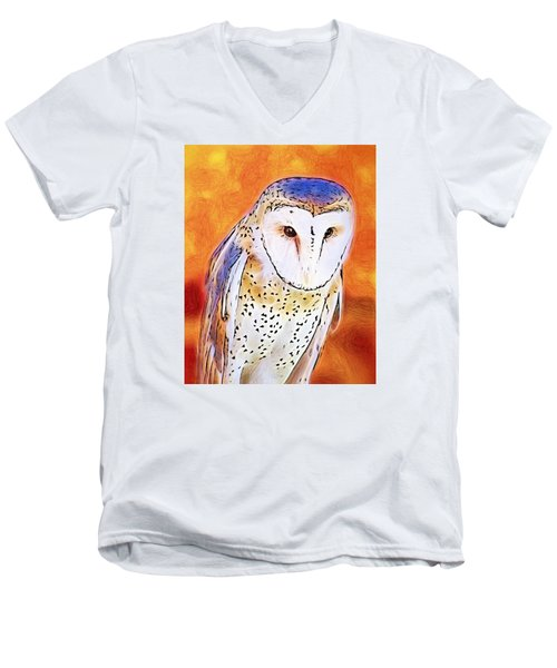 Men's V-Neck T-Shirt featuring the digital art White Face Barn Owl by Tracie Kaska
