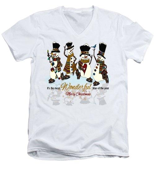 Snow Play Men's V-Neck T-Shirt by Tami Dalton