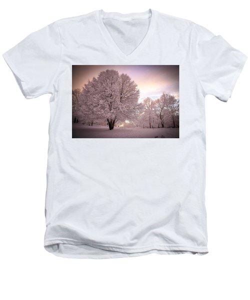 Snow Tree At Dusk Men's V-Neck T-Shirt