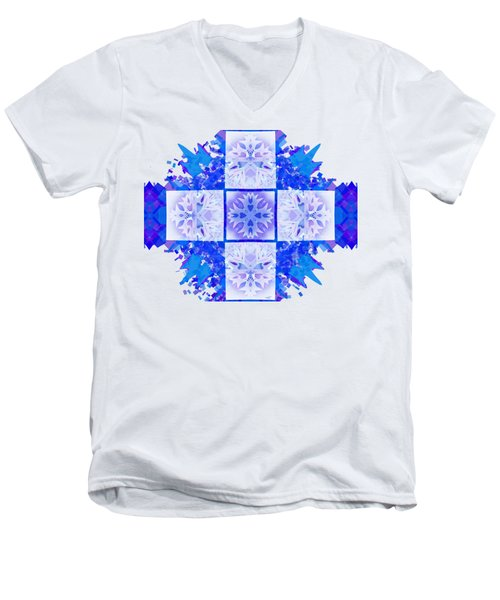 Men's V-Neck T-Shirt featuring the digital art Snowflake Cross by Adria Trail