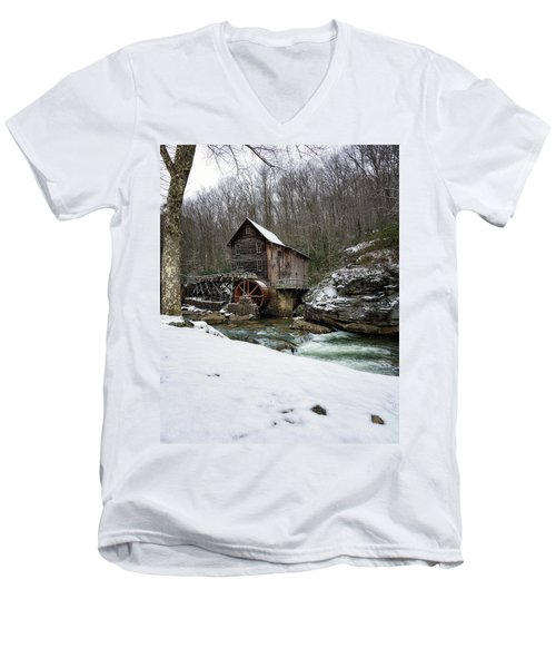Snowing At Glade Creek Mill Men's V-Neck T-Shirt by Steve Hurt