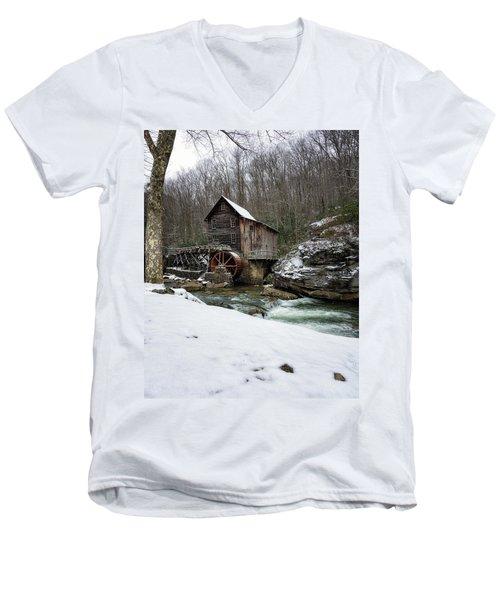Snowing At Glade Creek Mill Men's V-Neck T-Shirt
