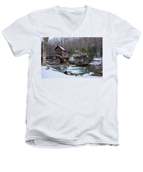 Snowing At The Mill  Men's V-Neck T-Shirt by Steve Hurt