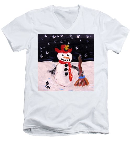 Snowman Under The Stars Men's V-Neck T-Shirt by Mary Carol Williams