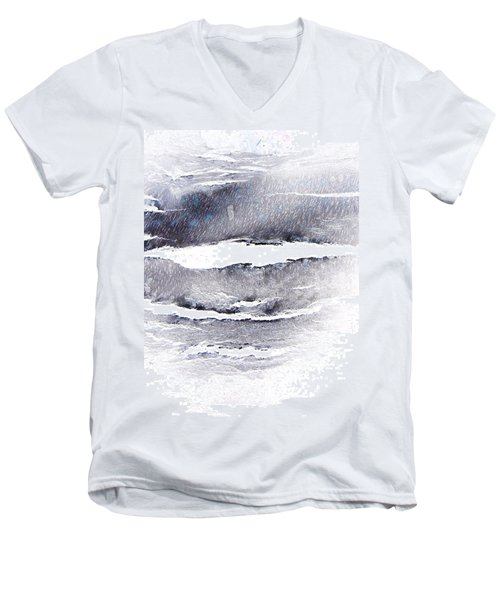 Men's V-Neck T-Shirt featuring the photograph Snowstorm In The High Country by Lenore Senior