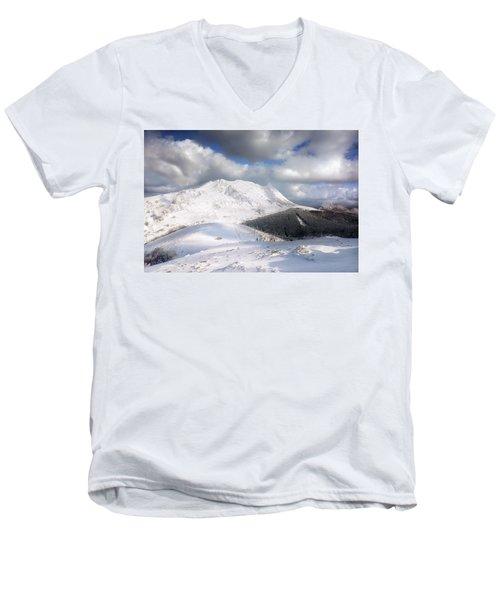 snowy Anboto from Urkiolamendi at winter Men's V-Neck T-Shirt