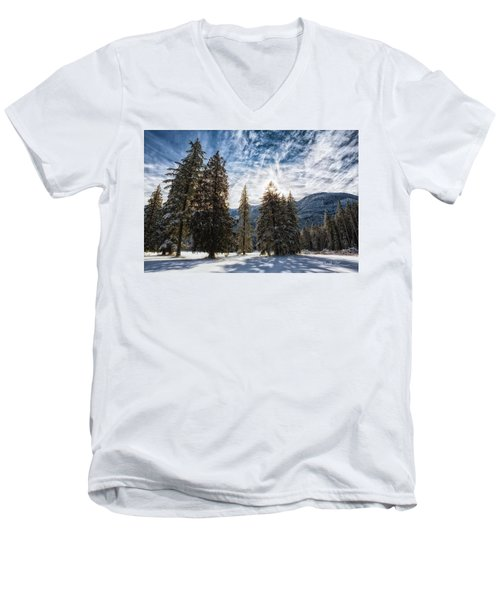 Snowy Clouds Men's V-Neck T-Shirt by Charlie Duncan