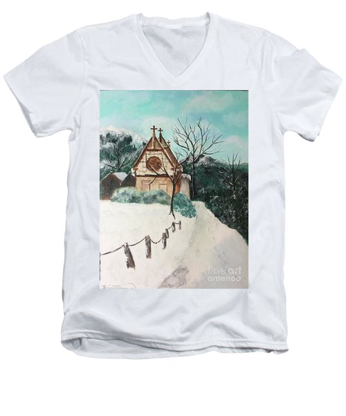 Men's V-Neck T-Shirt featuring the painting Snowy Daze by Denise Tomasura
