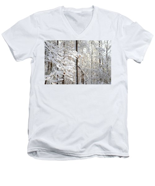 Snowy Dogwood Bloom Men's V-Neck T-Shirt