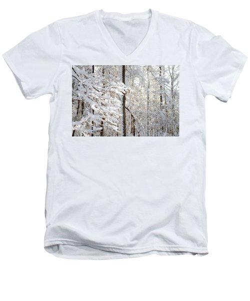 Snowy Dogwood Bloom Men's V-Neck T-Shirt