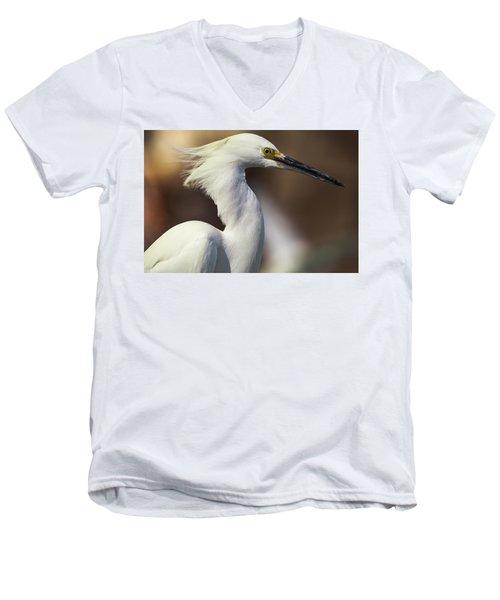 Snowy Egret Men's V-Neck T-Shirt by Jason Moynihan