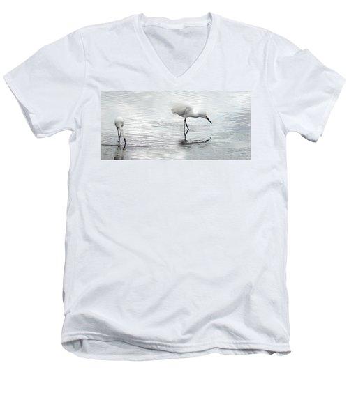 Snowy Egrets Men's V-Neck T-Shirt