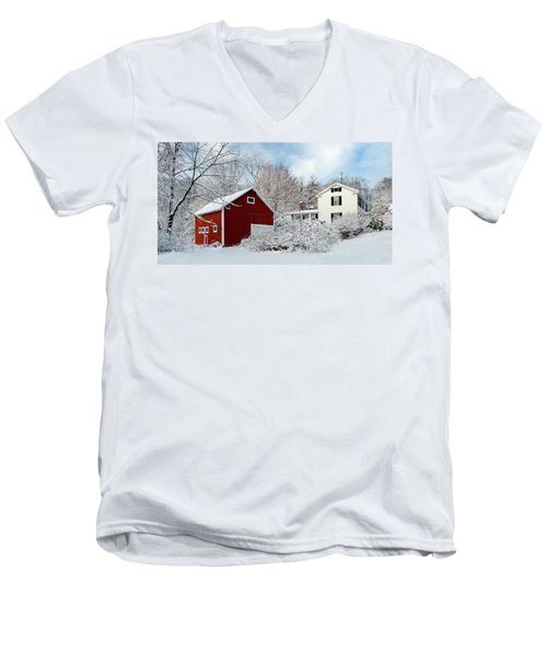Snowy Homestead With Red Barn Men's V-Neck T-Shirt