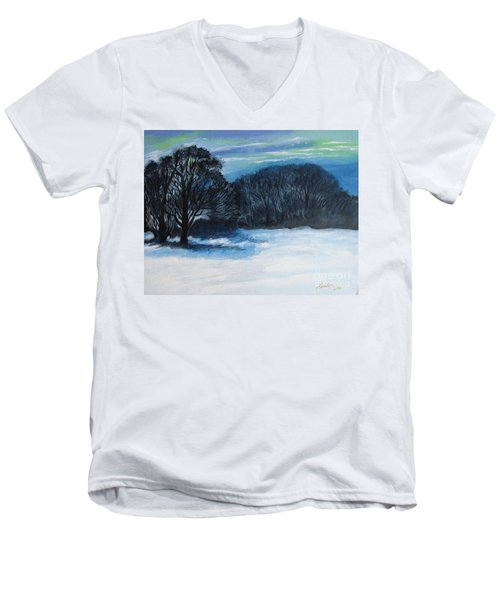 Snowy Moonlight Night Men's V-Neck T-Shirt