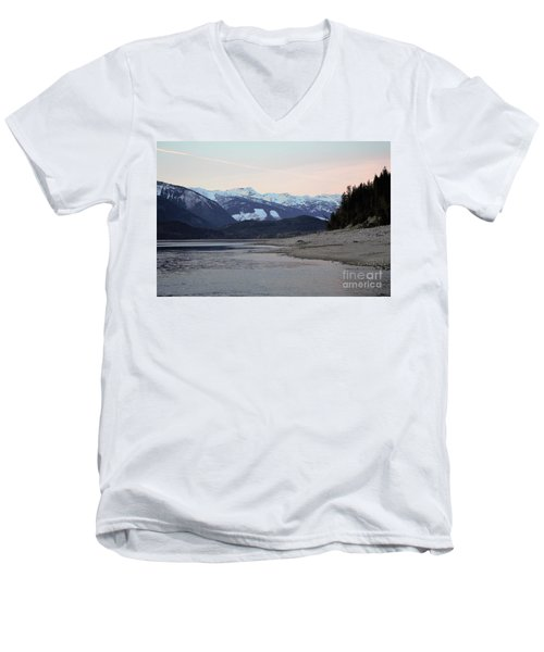 Men's V-Neck T-Shirt featuring the photograph Snowy Mountains by Victor K