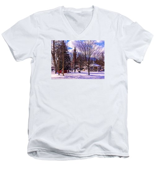 Snowy Old Town Hall Men's V-Neck T-Shirt