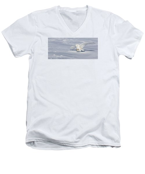 Men's V-Neck T-Shirt featuring the photograph Snowy Owl by Dan Traun