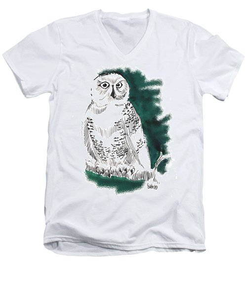 Men's V-Neck T-Shirt featuring the drawing Snowy Owl II by Seth Weaver