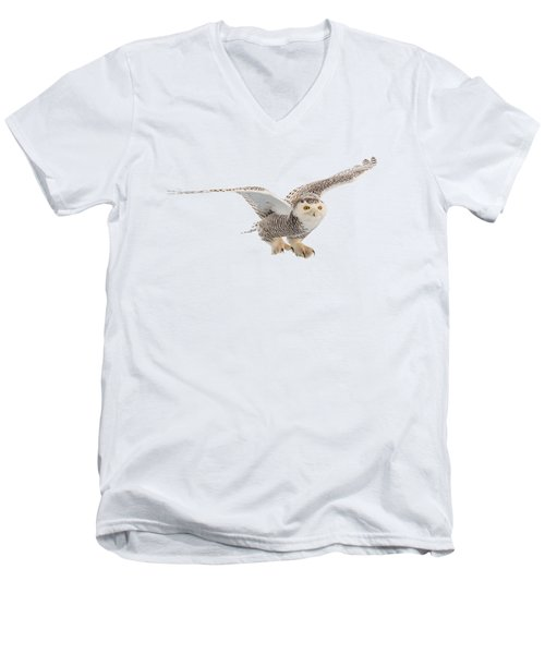 Snowy Owl T-shirt Mug Graphic Men's V-Neck T-Shirt