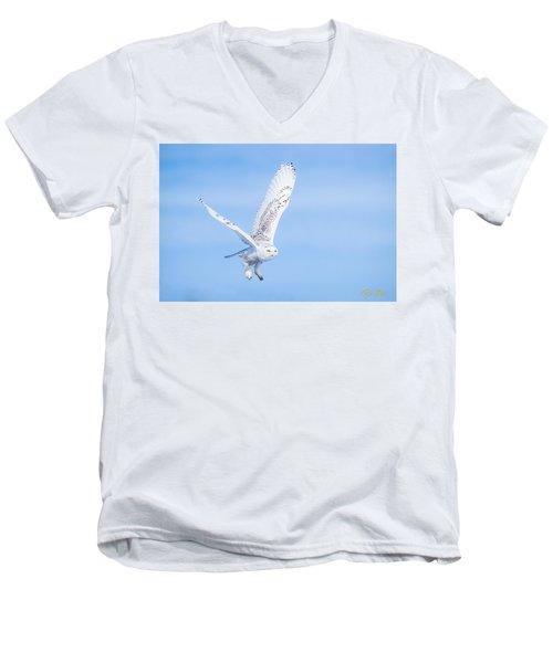 Snowy Owls Soaring Men's V-Neck T-Shirt