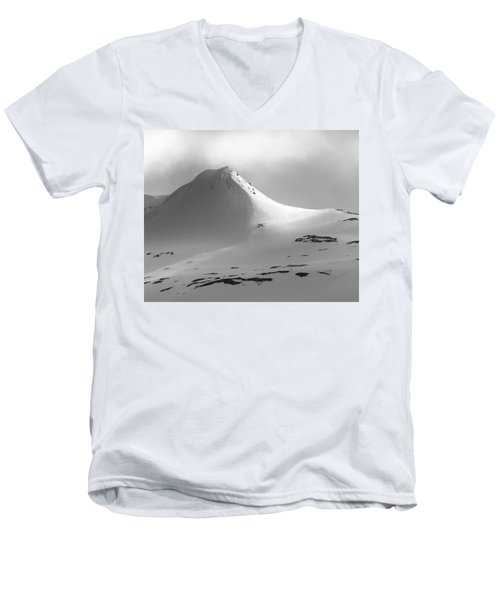 Snowy Peak Over Grundarfjordur Men's V-Neck T-Shirt