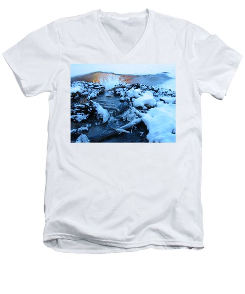 Snowy Reflections Men's V-Neck T-Shirt by Angela Murray
