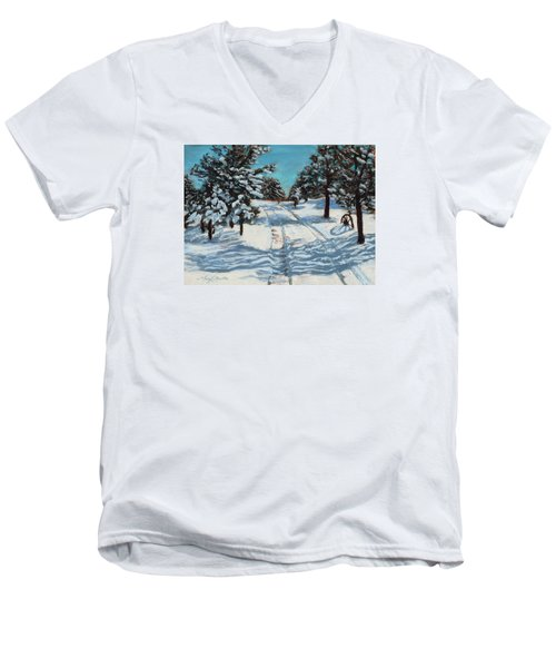 Snowy Road Home Men's V-Neck T-Shirt