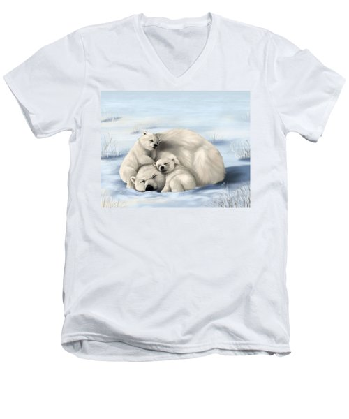 Men's V-Neck T-Shirt featuring the painting So Much Love by Veronica Minozzi