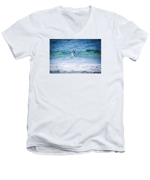Soaring Over The Ocean Men's V-Neck T-Shirt by Shelby Young