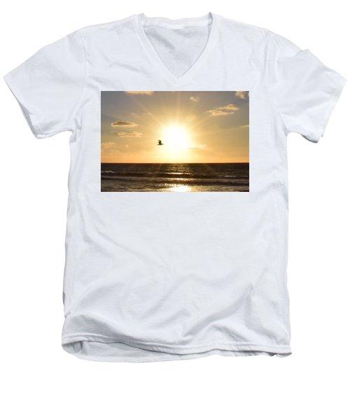 Soaring Seagull Sunset Over Imperial Beach Men's V-Neck T-Shirt by Karen J Shine