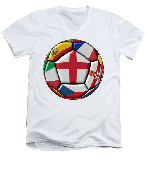 Soccer Ball With Flag Of England In The Center Men's V-Neck T-Shirt by Michal Boubin