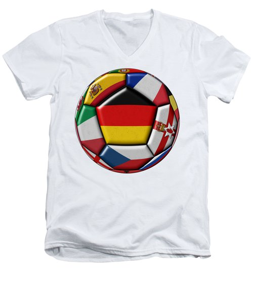 Soccer Ball With Flag Of German In The Center Men's V-Neck T-Shirt
