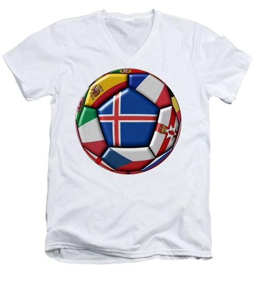 Soccer Ball With Flag Of Iceland In The Center Men's V-Neck T-Shirt by Michal Boubin