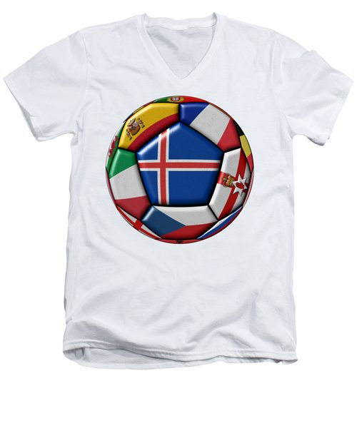 Soccer Ball With Flag Of Iceland In The Center Men's V-Neck T-Shirt