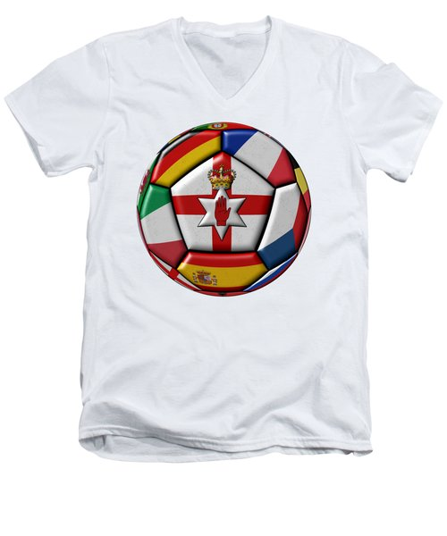 Soccer Ball With Flag Of Northern Ireland In The Center Men's V-Neck T-Shirt