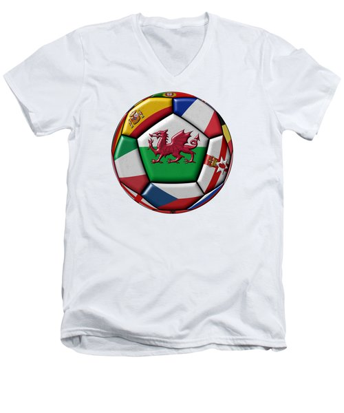 Soccer Ball With Flag Of Wales In The Center Men's V-Neck T-Shirt by Michal Boubin