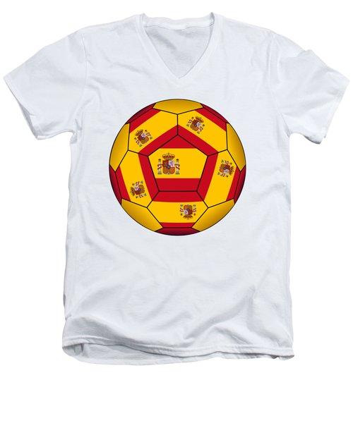 Soccer Ball With Spanish Flag Men's V-Neck T-Shirt