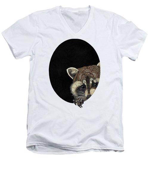 Socially Anxious Raccoon Men's V-Neck T-Shirt by ZH Field