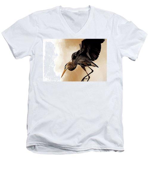Soft Landing Men's V-Neck T-Shirt by Cyndy Doty