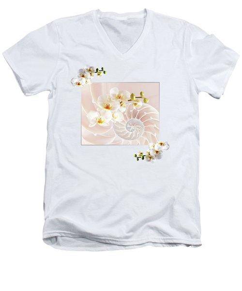 Soft Pink Fusion Men's V-Neck T-Shirt by Gill Billington