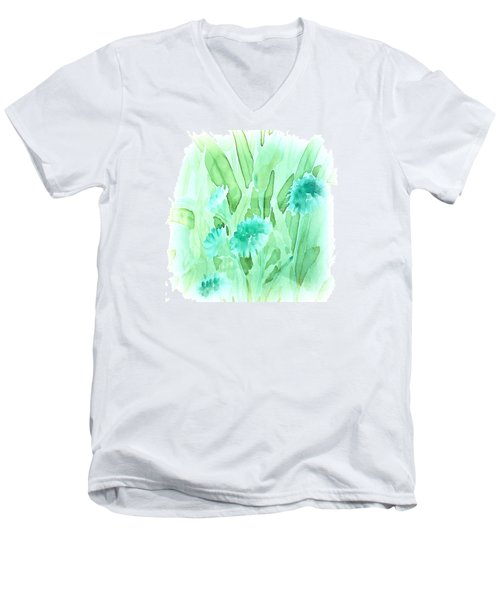Soft Watercolor Floral Men's V-Neck T-Shirt