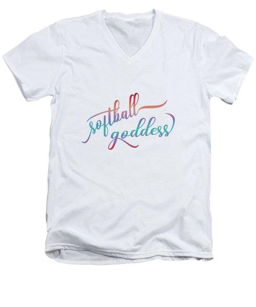 Softball Goddess Summer Ombre Men's V-Neck T-Shirt