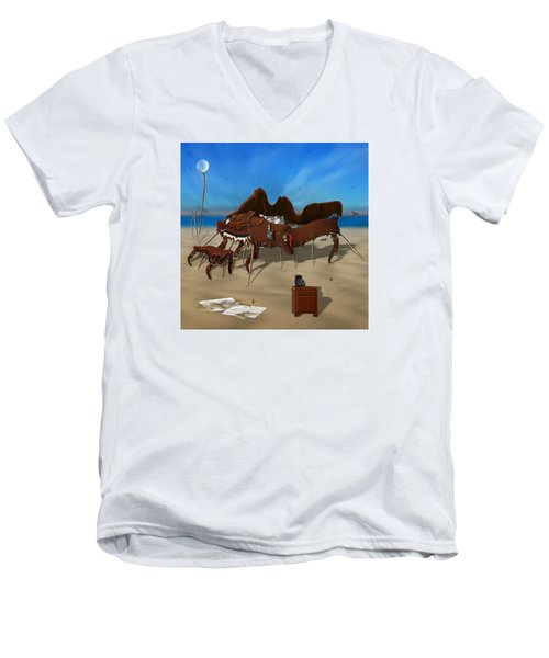 Softe Grand Piano Se Sq Men's V-Neck T-Shirt by Mike McGlothlen