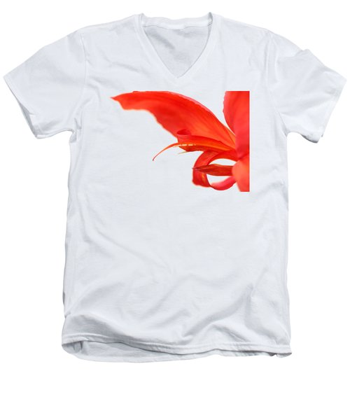 Softly Red Canna Lily Men's V-Neck T-Shirt by Debbie Oppermann
