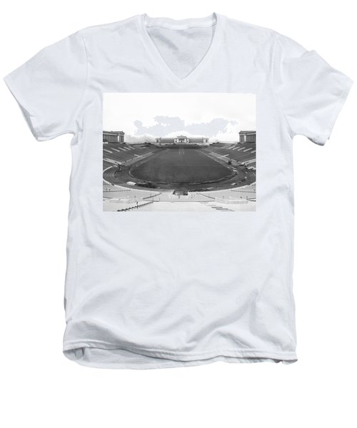 Soldier Field In Chicago Men's V-Neck T-Shirt by Underwood Archives