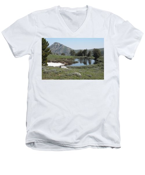 Men's V-Neck T-Shirt featuring the photograph Soldier Lake And Peak by Jenessa Rahn